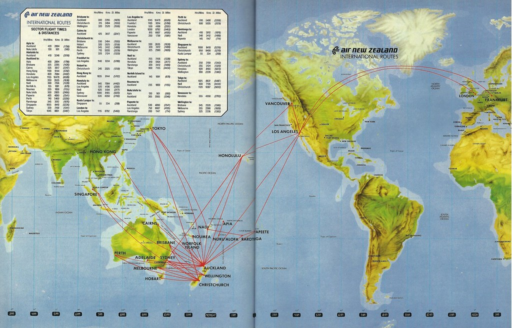 Airline Maps — Air New Zealand international routes, 1990 An ... on