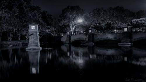 water bridge night urbanlandscape shadows light noir filmnoir trees