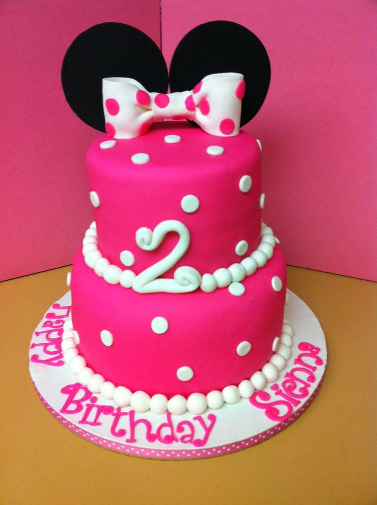 Swell Minnie Mouse 2Nd Birthday Cake All Marshmallow Fondant Flickr Personalised Birthday Cards Veneteletsinfo