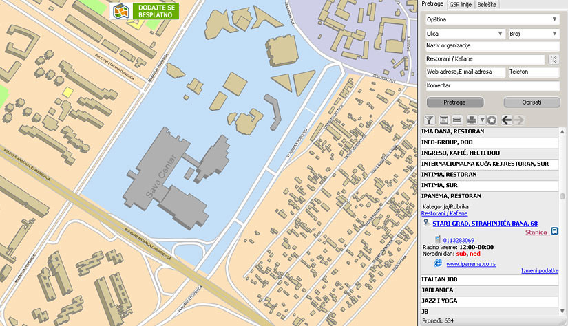 Beograd Mapa Digitalna Mapa S Firmama Www Infograd Rs