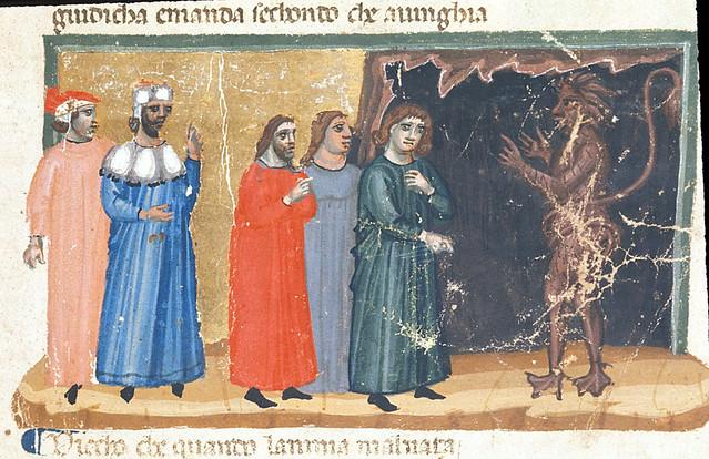 London BL - Egerton 943  fol-10  Minos judging three souls