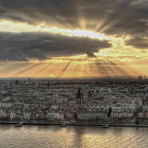 light sunset art architecture germany square hdri qlart cologneoldtowncenterrhein