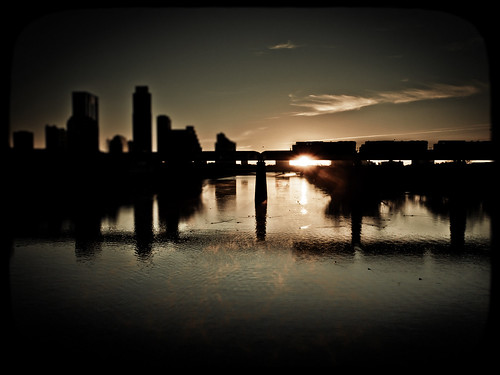 morning bridge skyline train sunrise austin landscape downtown texas pedestrian olympus ladybirdlake epl1