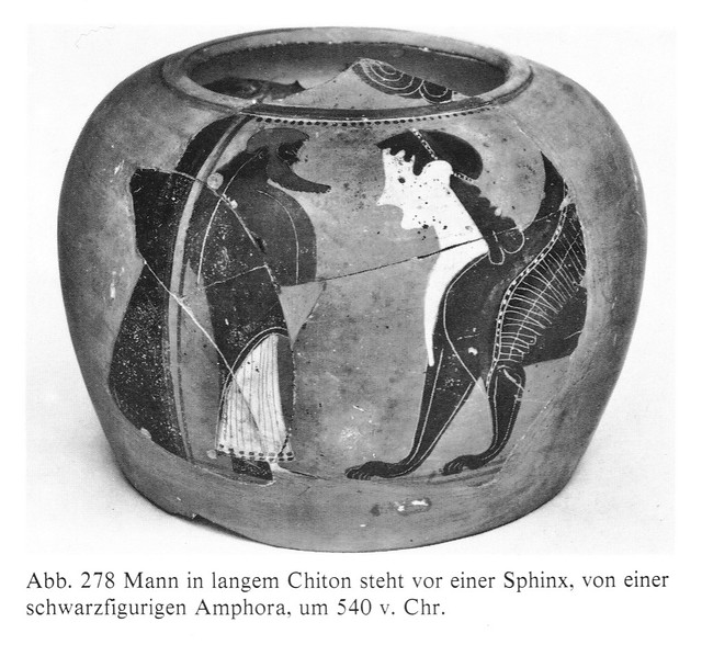 Oedipus solving the riddle of the Theban Sphinx