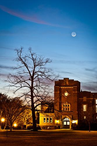 sky moon tree night clouds lights clear va salem slivermoon roanokecollege