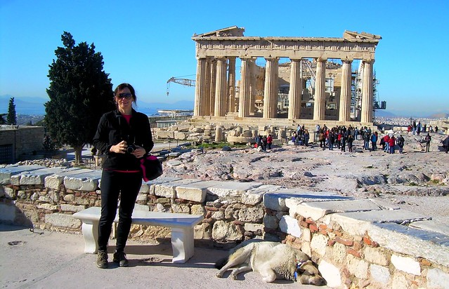 The obligatory tourist photo at the Parthenon; I didn't even notice that dog when I took the photo (one of the few quiet dogs in Greece) by bryandkeith on flickr