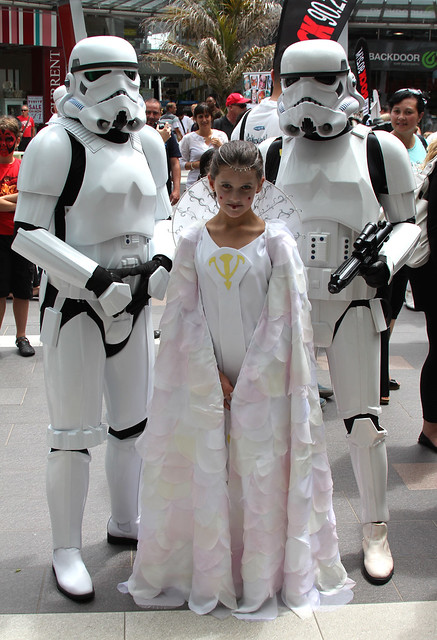 Queen Amidala with stormtroopers