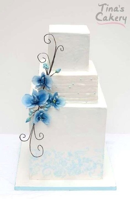 Blue orchid engagement cake