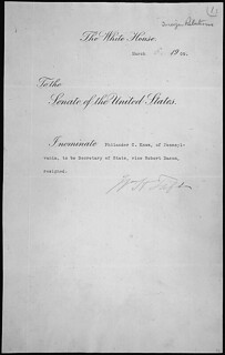 Message of President William H. Taft nominating Knox to be Secretary of State, 03/05/1909