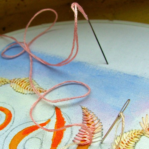 2-needle feather stitch   by Smallest Forest