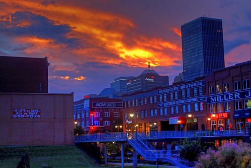city sunset oklahoma cloudy hdr bricktown