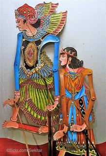 Selamat Hari Natal! Angel Gabriel and a King from Christmas story as Wayang kulit. Keraton Museum Yogyakarta