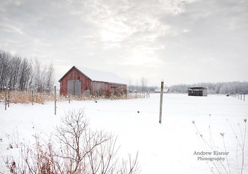 winter red snow canada fence landscape nikon novascotia country overcast auburn nikkor redbarn annapolisvalley maritimes atlanticcanada winterscene d90 nikond90 countrywinter valleywinter nikkor18105mm