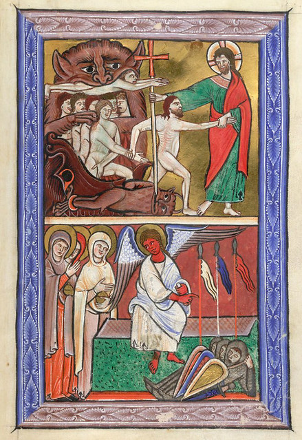 London BL - Arundel 157  fol-11  Harrowing of Hell and the Holy Women at the Tomb