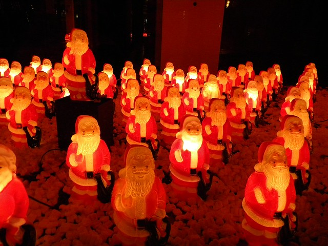 plastic Santas in the Pearl District