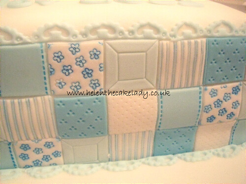 Train patchwork Christening cake (1)