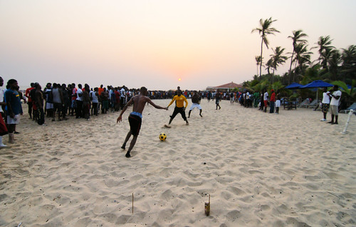 sunset beach soccer january 01 ghana accra goalposts labadi 2011 paulinuk99999