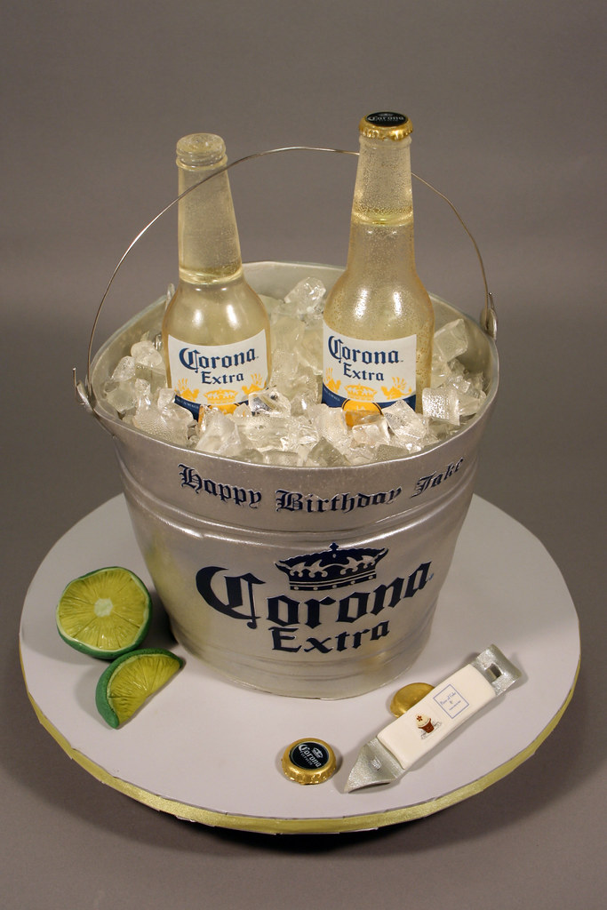 Tremendous Corona Beer Bottle Bucket Birthday Cake Decorated In Fonda Flickr Personalised Birthday Cards Epsylily Jamesorg