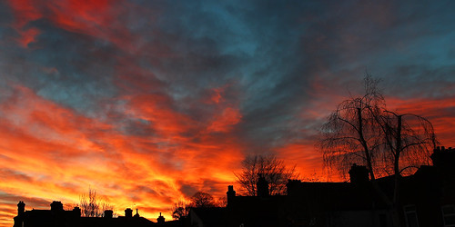sunset colour silhouette clouds cityscape norwich