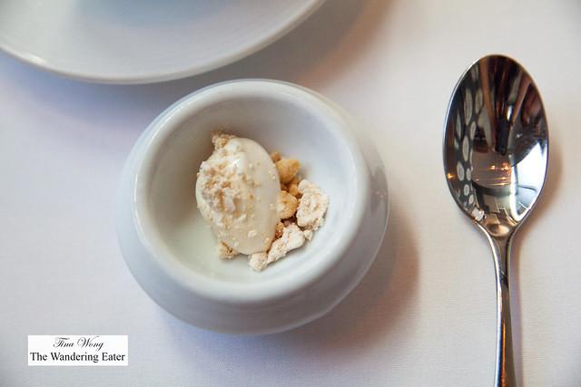 Predessert - Oat ice cream, peanut powder, peanut brittle