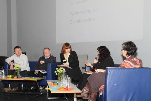 Conversation  1 – Partnership & Collaboration, L-R Kevin O' Shanahan, Aidan Warner, Mary Grehan (Chair), Ann O'Connor and Sheelagh Broderick   by Dialogue Arts + Health