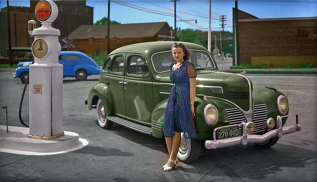 1939: A lady poses with new 1939 Dodge