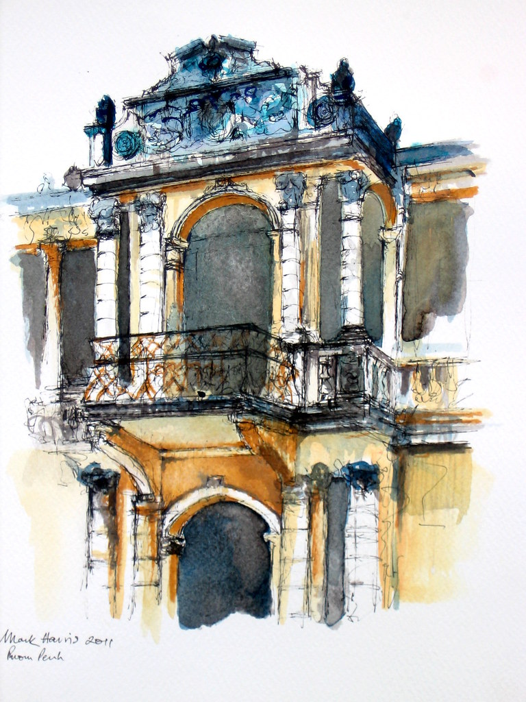 Old Building, Phnom Penh   Pen and ink drawing with ink wash