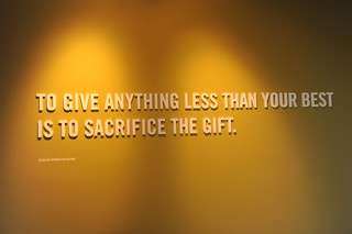 """Detail: """"To give anything less than your best is to sacrifice the gift."""" Steve Prefontaine, Nike, reception, Beaverton, Oregon, USA 