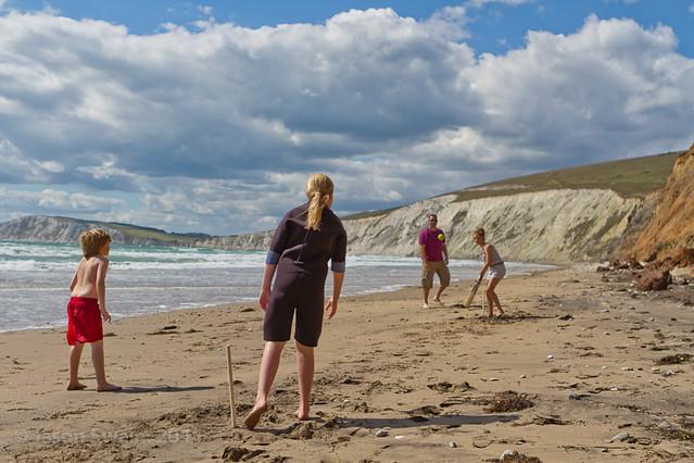 Beach Cricket #1, Compton Bay, Isle of Wight