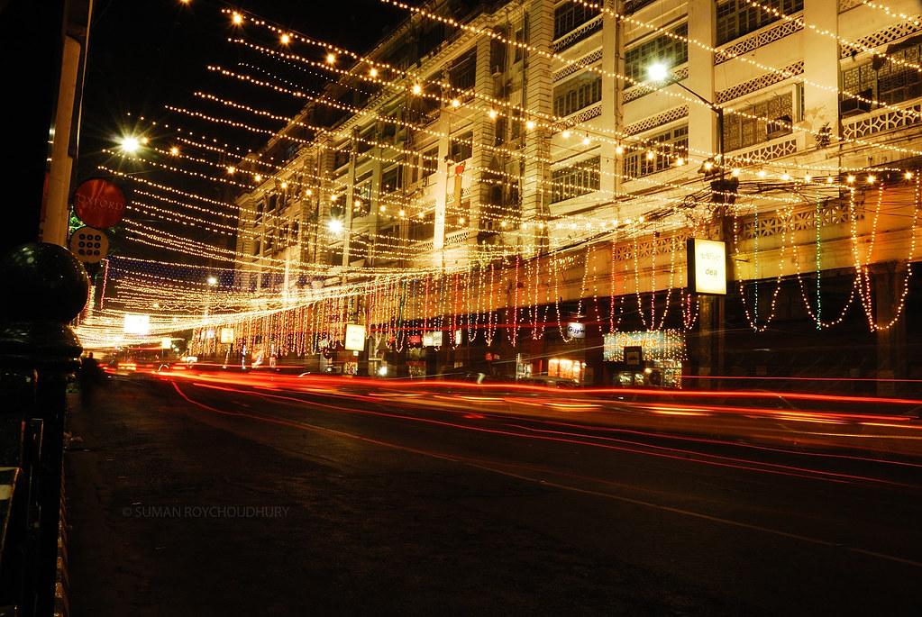 christmas lights, park street, kolkata