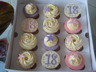 Tremendous 18Th Birthday Cupcakes Vanilla Cupcakes With A Pink And Pu Flickr Funny Birthday Cards Online Necthendildamsfinfo