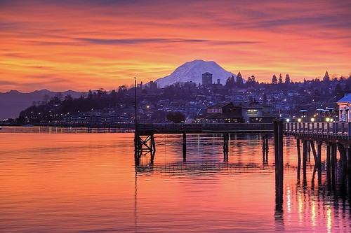sunrise washington nikon tacoma mtrainier hdr commencementbay 6xp
