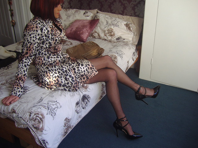 Leopard Print Coat and Nylons