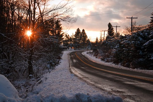 winter sunset snow pennsylvania poconos gouldsboro tobyhanna icyroad