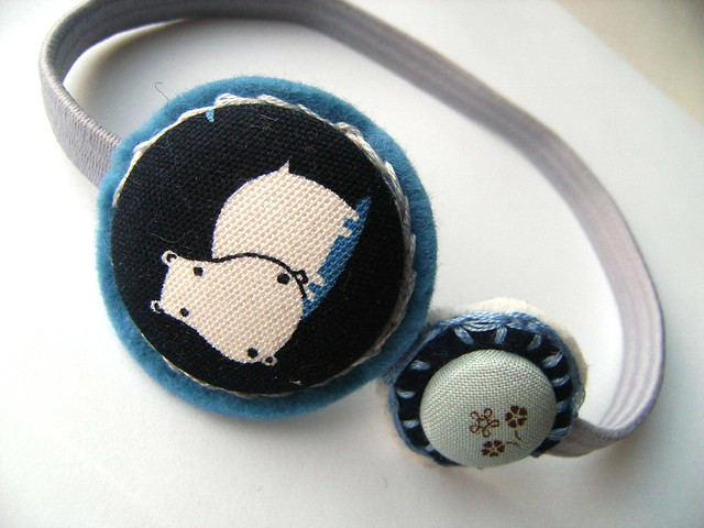 Navy Hippo Covered Button Felt Headband