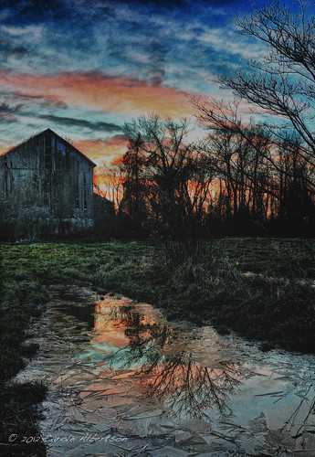 sunset barn reflections farm puddles horsham hdr sunsetbarn 52of2012 theme5minutesfrommyhome