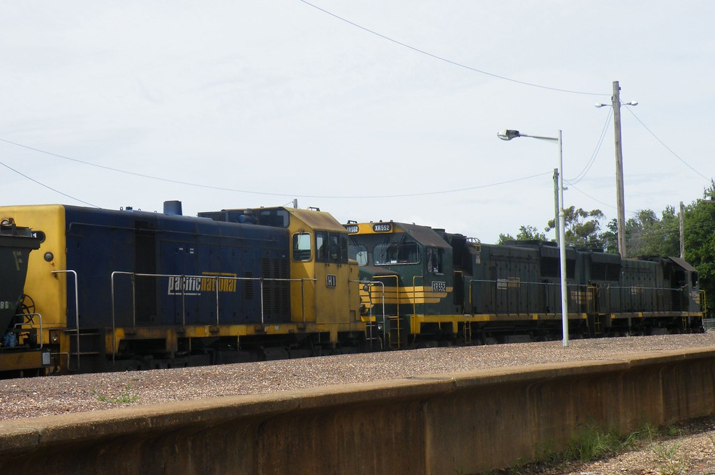 Pacific National Triple Header XR554 Leading then XR552 and at the rear H1 Maryborough Railway station by denmac25