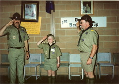 Peter Hatcher, cub Kate Cooper and Ian Cooper at Kate's investiture 18/9/1989