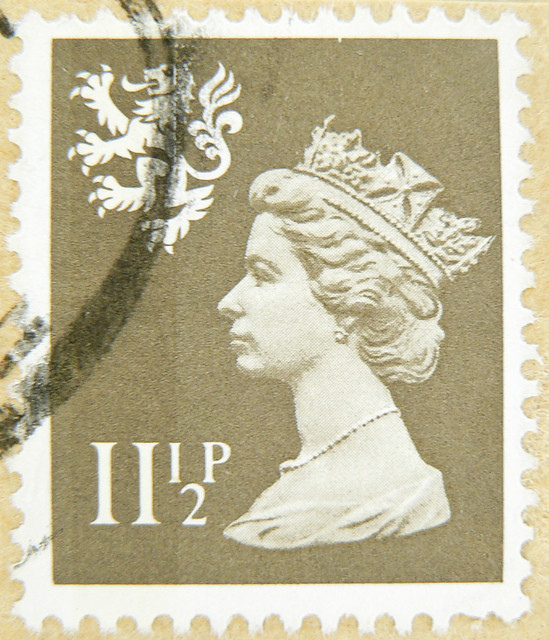great stamp GB Scotland stamp 11.5 p 11 1/2 p pence gray grey Queen Elizabeth Great Britain England QEII Queen Elisabeth United Kingdom UK timbre Grande-Bretagne postage porto francobolli Elizabeth Gran Bretagna bollo sellos selo Gran Bretaña franco timbr
