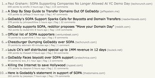 Hacker News with 9 SOPA stories in the top 10 | by JonPincus