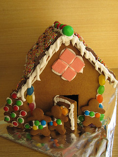 Gingerbread house with gingerbread kids