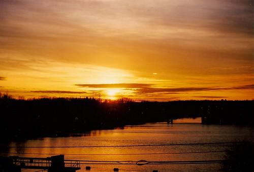 sunset sky film silhouette clouds nikon moody shadows kodak michigan annarbor huronriver goldenhour n75 sooc geddespond geddesdam ektar100