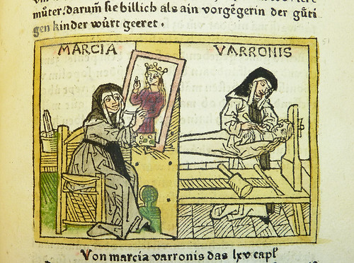 Woodcut illustration of the artist Marcia Varronis (or Iaia of Cyzicus) | by Provenance Online Project