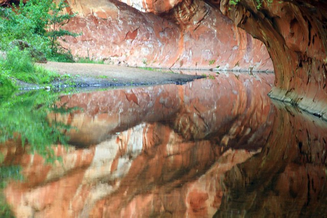 Reflections of Oak Creek on the West Fork Trail (IMG_1128a)