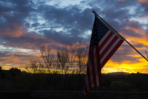 sunset arizona sky usa cloud flag tranquil
