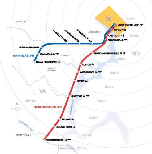 VRE, Virginia Railway Express commuter railroad map