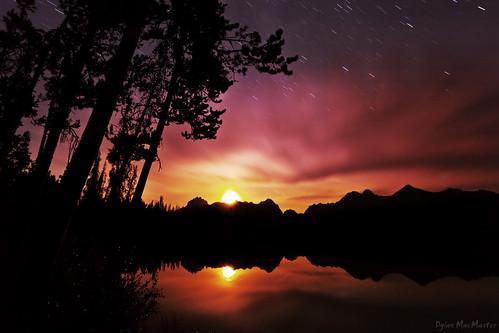 reflection tree silhouette night clouds stars moonset sawtoothmountains littleredfishlake fotocompetitionbronze thepinnaclehof kanchenjungachallengewinner tphofweek135