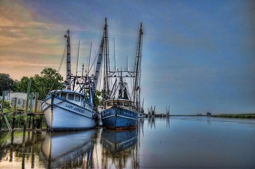 wetland shrimpboat riverbank river hdr landscape marsh coastal mcintoshcounty darien ladyvanessa