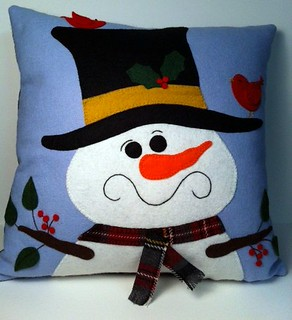 snowman pillow finished
