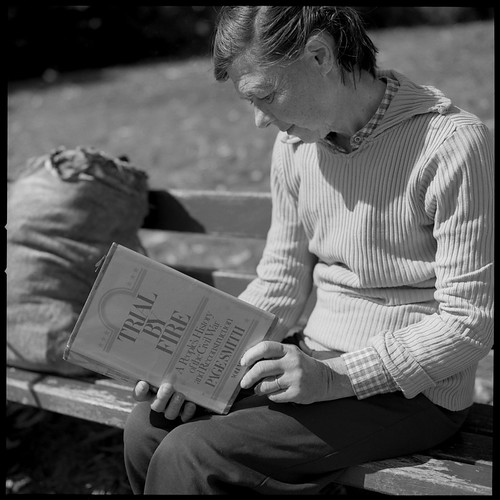 Homeless Woman Reading Page Smith 83082804